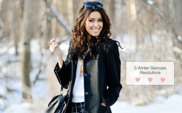 winter coat + winter skincare
