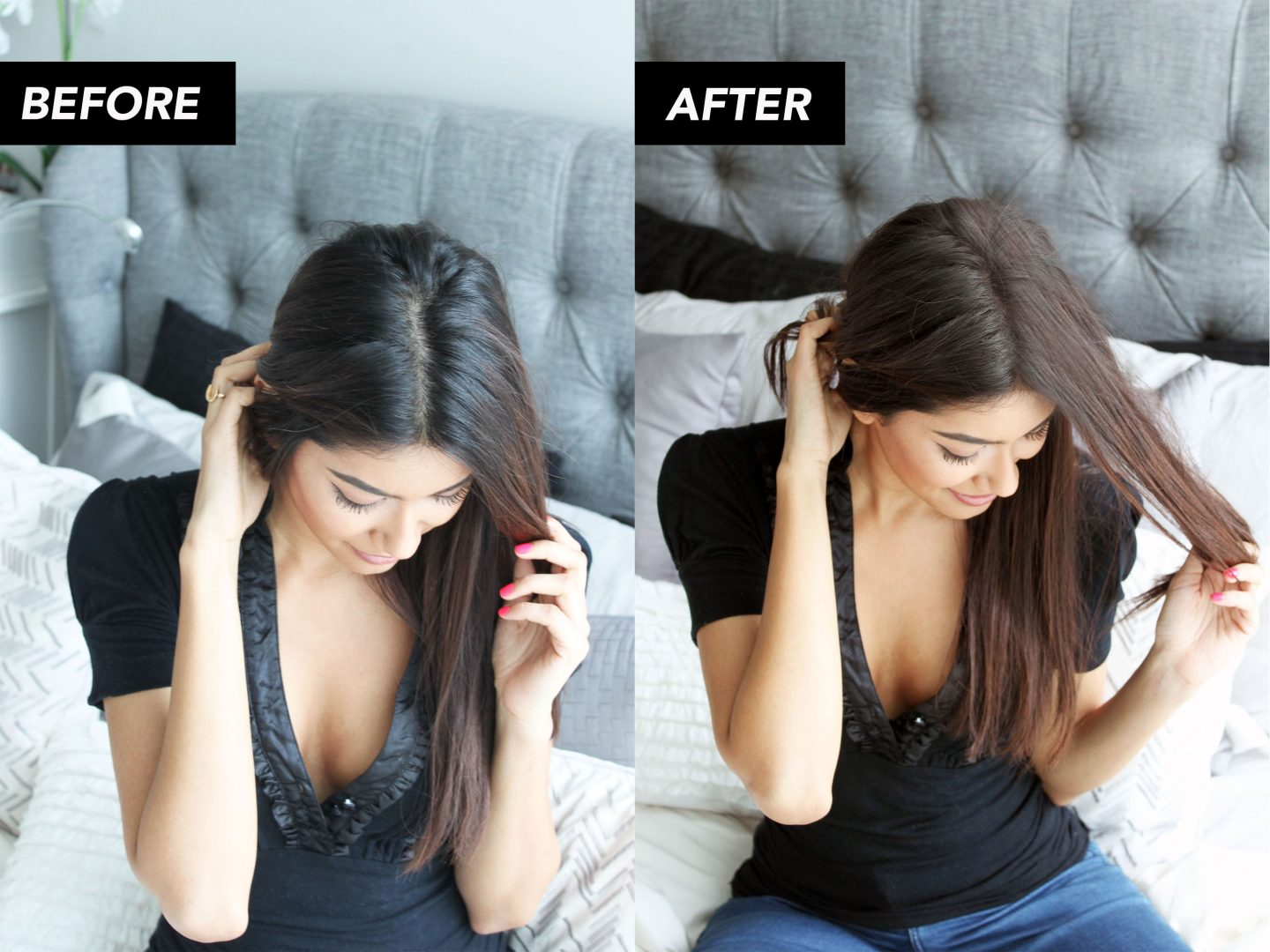 grey hair roots retouch
