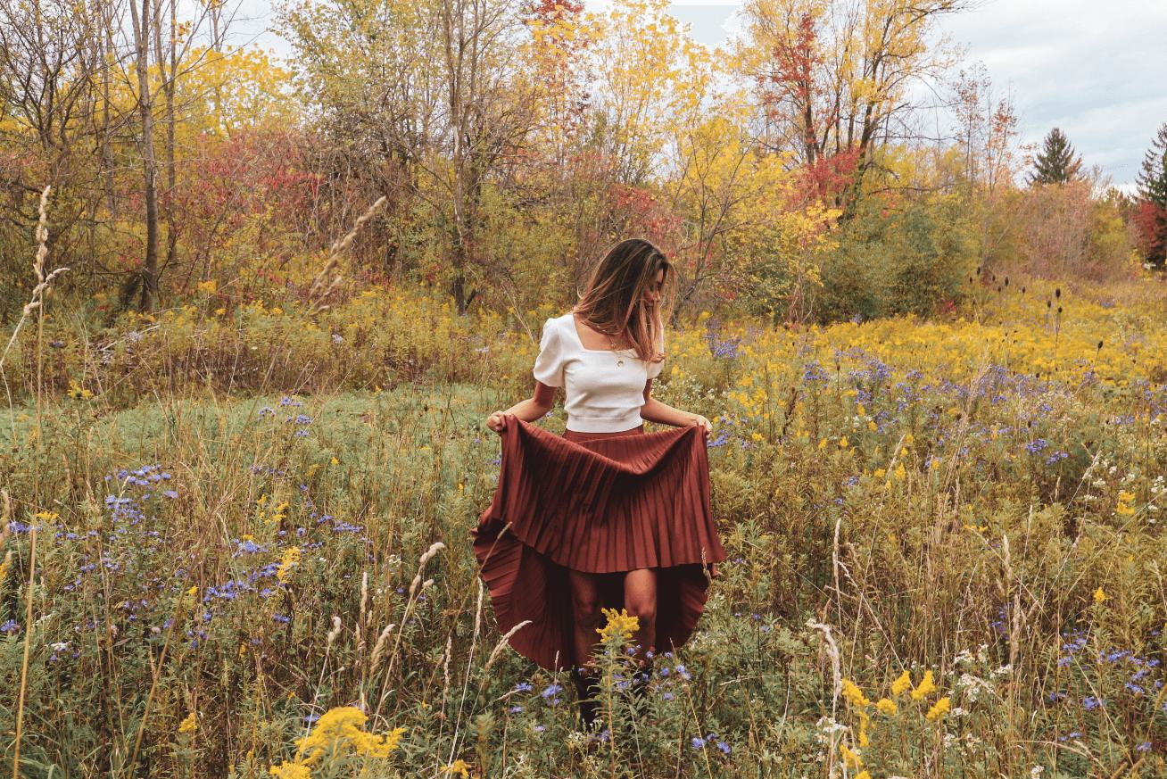 fall fashion - pleated skirt