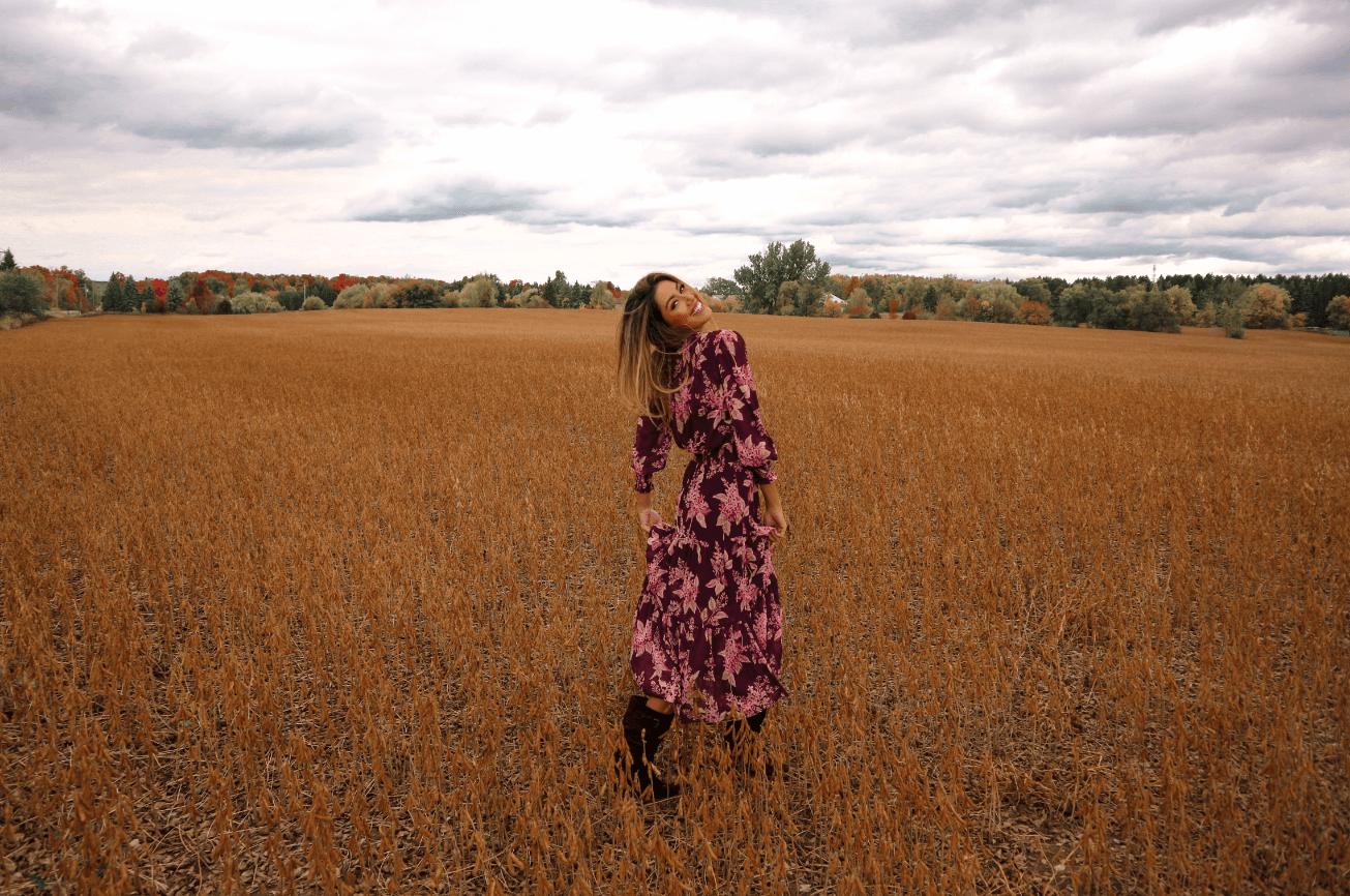 fall wardrobe - floral dress